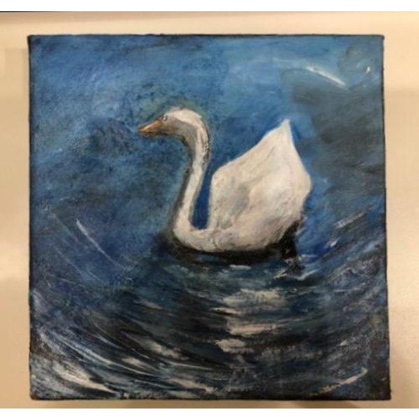 Austin & Texas Swan on Lady Bird Lake 6x6 Canvas by Jean Schuler