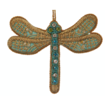 Lady Bird Turquoise Satin Dragonfly Ornament