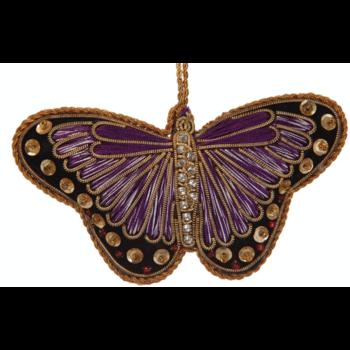 Lady Bird Butterfly Purple Satin Ornament