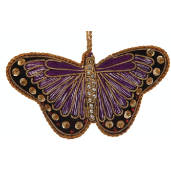 Lady Bird Purple Satin Butterfly Ornament