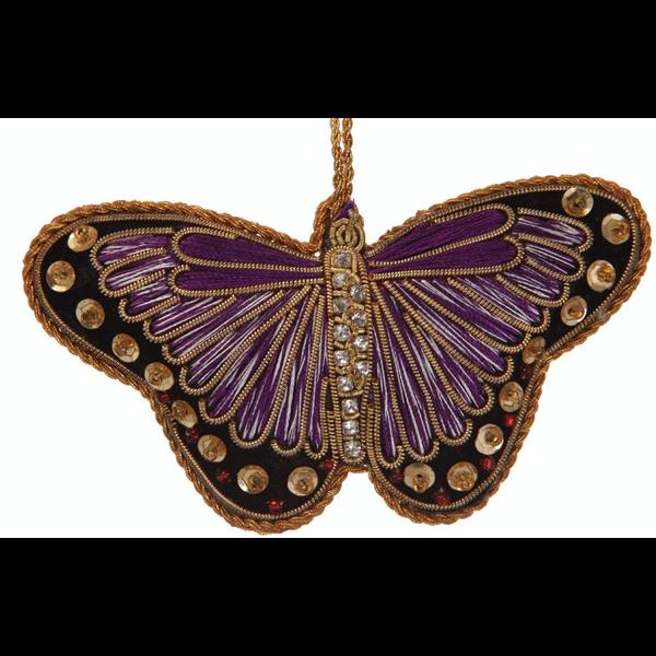 Lady Bird Purple Satin Butterfly Ornament