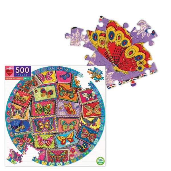 Just for Kids Vintage Butterfly 500pc Round Puzzle