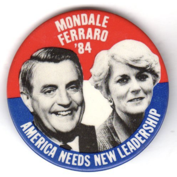 Mondale Ferraro '84 America Needs New Leadership Campaign Button