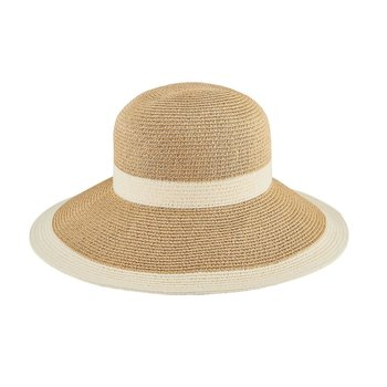 Lady Bird sale-Water Repellent Striped Cloche White/Natural