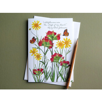 "Lady Bird ""Stuff of my heart"" Lady Bird quote wildflower blank card"