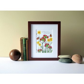 "Lady Bird ""Stuff of my heart"" Lady Bird quote wildflower 8x10 print"