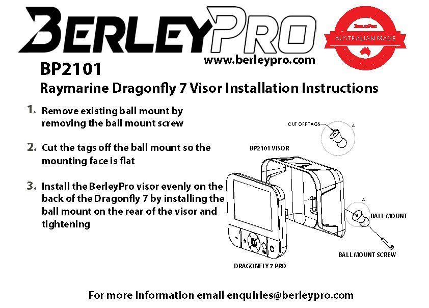 BerleyPro BerleyPro Fishfinder Visor for Raymarine Dragonfly 7 Pro