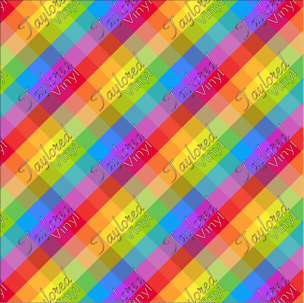 Rainbow Square Ombre Printed HTV Vinyl