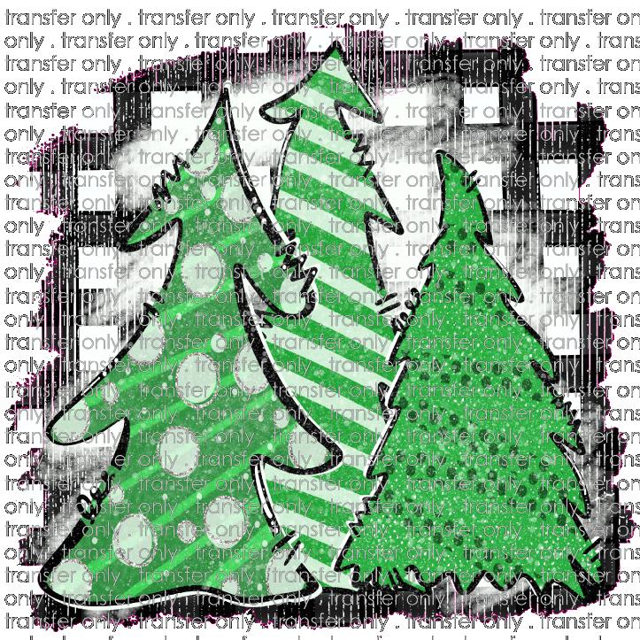 Christmas Tree Trio: Siser CHR 154 Merry Christmas Tree Trio Green