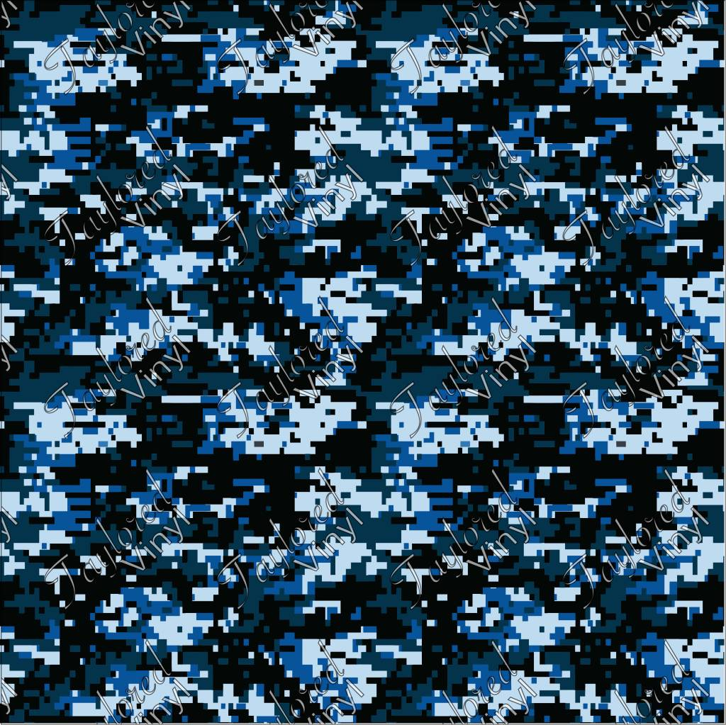 Camo Digital Navy Blue Printed Htv Taylored Vinyl