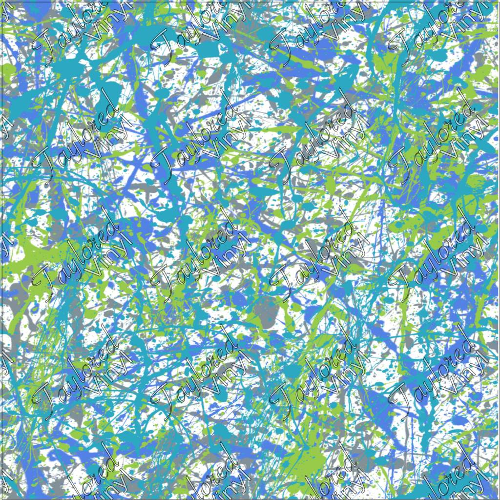 Paint Splatter Blue And Green Printed Htv Taylored Vinyl