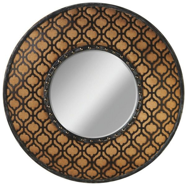 ACCESSORIES GEOMETRIC AND BURLAP WALL MIRROR