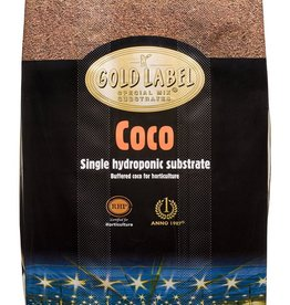 Gold Label The best buffered coco on the market with a very low EC and is RHP for Horticulture certified. This not only guarantees a clean and buffered substrate, but is also a production process with respect for the environment. Gold Label Coco is an ideal hydropon