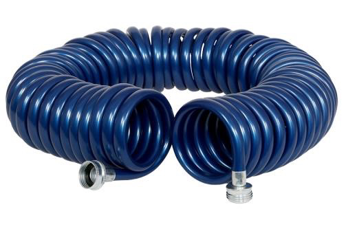 Rainmaker® The Rainmaker® Revolution® Coiled Garden Hose 3/8 in x 25 ft or 50 ft are ultra lightweight hoses with excellent recoil memory. The Revolution® Coil feature allows you to fully extend the hose and retract it back to its original compact form. The Rainmake