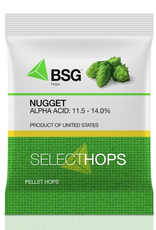 HOPUNION Origin: USA. Nugget was bred in 1970 to meet a growing demand for high-alpha hops, and remains one of the most widely cultivated varieties in Oregon hopyards. Its lineage includes Brewers Gold, Early Green, and Canterbury Goldings.<br /> <br /> Usage: Known best for