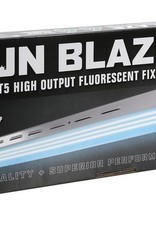 Sun Blaze Sun Blaze® fixtures feature an advanced reflector design that delivers excellent reflectivity and diffusion. White powder-coated steel housing is durable, has louvered venting for cool operation. High output lamps have an extremely high lumen per watt rat