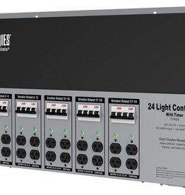 TITAN CONTROLS Titan Controls Spartan Series Metal 24 Light Controller 240 Volt w/ Timer - Universal Outlets