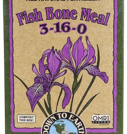 Down To Earth™ A wonderful source of phosphorus and calcium for flowering plants, trees and ornamentals, Bone Meal is recognized as the ideal organic fertilizer when planting bulbs to promote strong root development and enhance early season growth. One of the indispensa