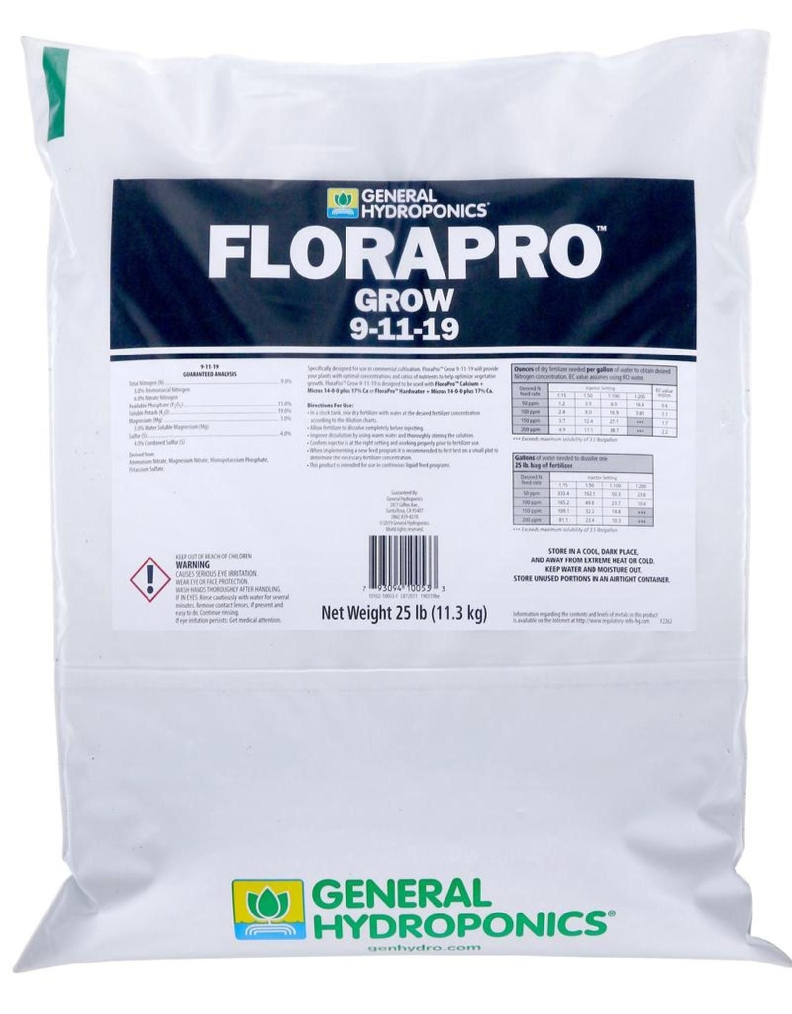GENERAL HYDROPONICS General Hydroponics FloraPro Grow Soluble 25 lb bag