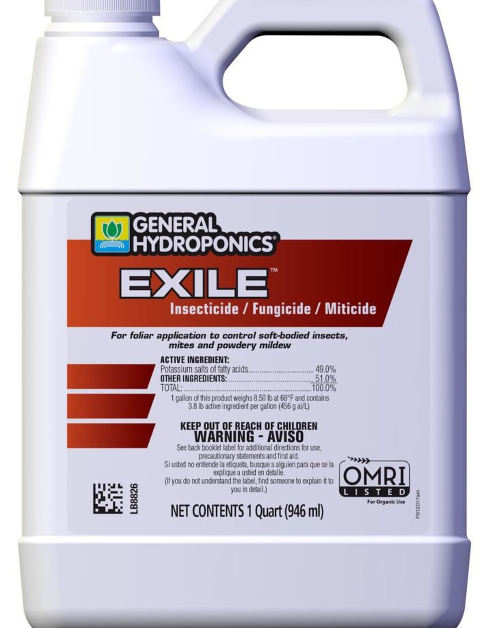GENERAL HYDROPONICS General Hydroponics® Exile™ Insecticide/Fungicide/Miticide is OMRI listed for use in organic gardening and an EPA-registered fungicide. That means one product gives you control of listed pests and diseases (e.g. soft-bodied pests and powdery mildew) in ve