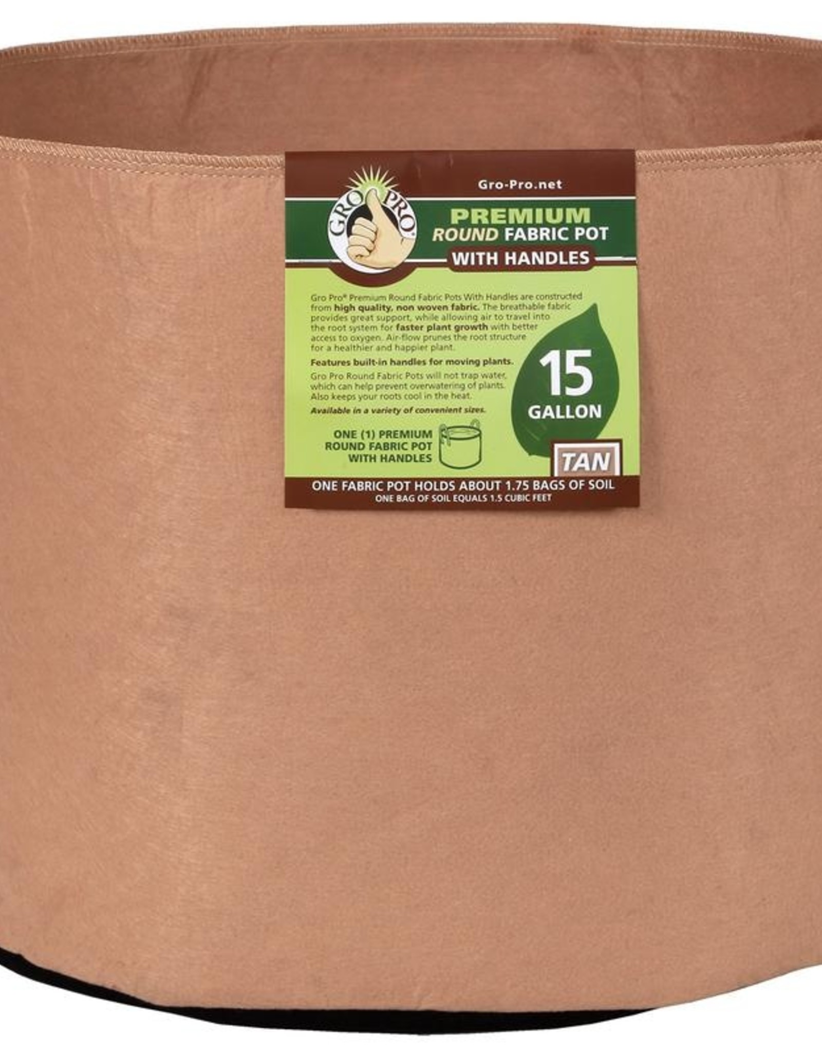 GRO PRO Gro Pro Premium Round Fabric Pot w/ Handles 15 Gallon - Tan