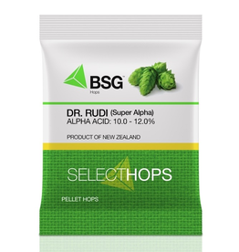"""HOPUNION Origin: New Zealand. Initially called Super Alpha upon its release by HortResearch in 1976, in 2012 this variety was renamed Dr. Rudi in honor of the """"father of New Zealand hops."""" It is a high-alpha triploid bred from an open cross of Smoothcone. <br /> <br /> Usage:"""