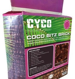 CYCO You may be familiar with our 50 Liter Coco Coir Bitz bags, but now Cyco has a 5 kg/11 lb compressed brick, giving you the same quality Coco Bitz with the RHP brand in a smaller compressed size yielding 55L/14.5 gallon by just adding water. Cyco Coco Bitz