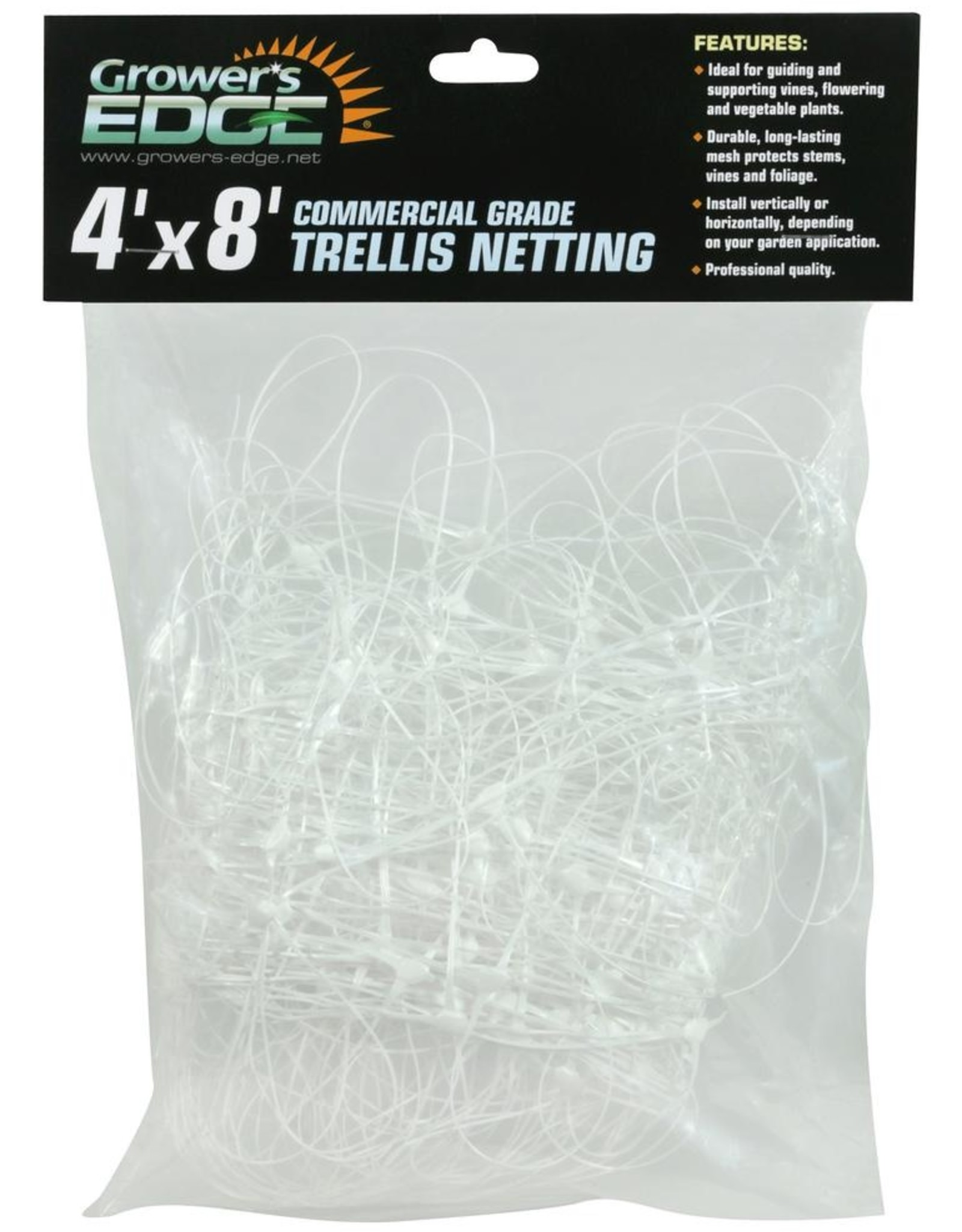 GROWERS EDGE Grower's Edge® Commercial Grade Trellis Netting is a strong, versatile polypropylene mesh specially designed for more efficient and economical cultivation of vegetables, fruits and flowers. Due to its durability and practical nature, Grower's Edge® Commer