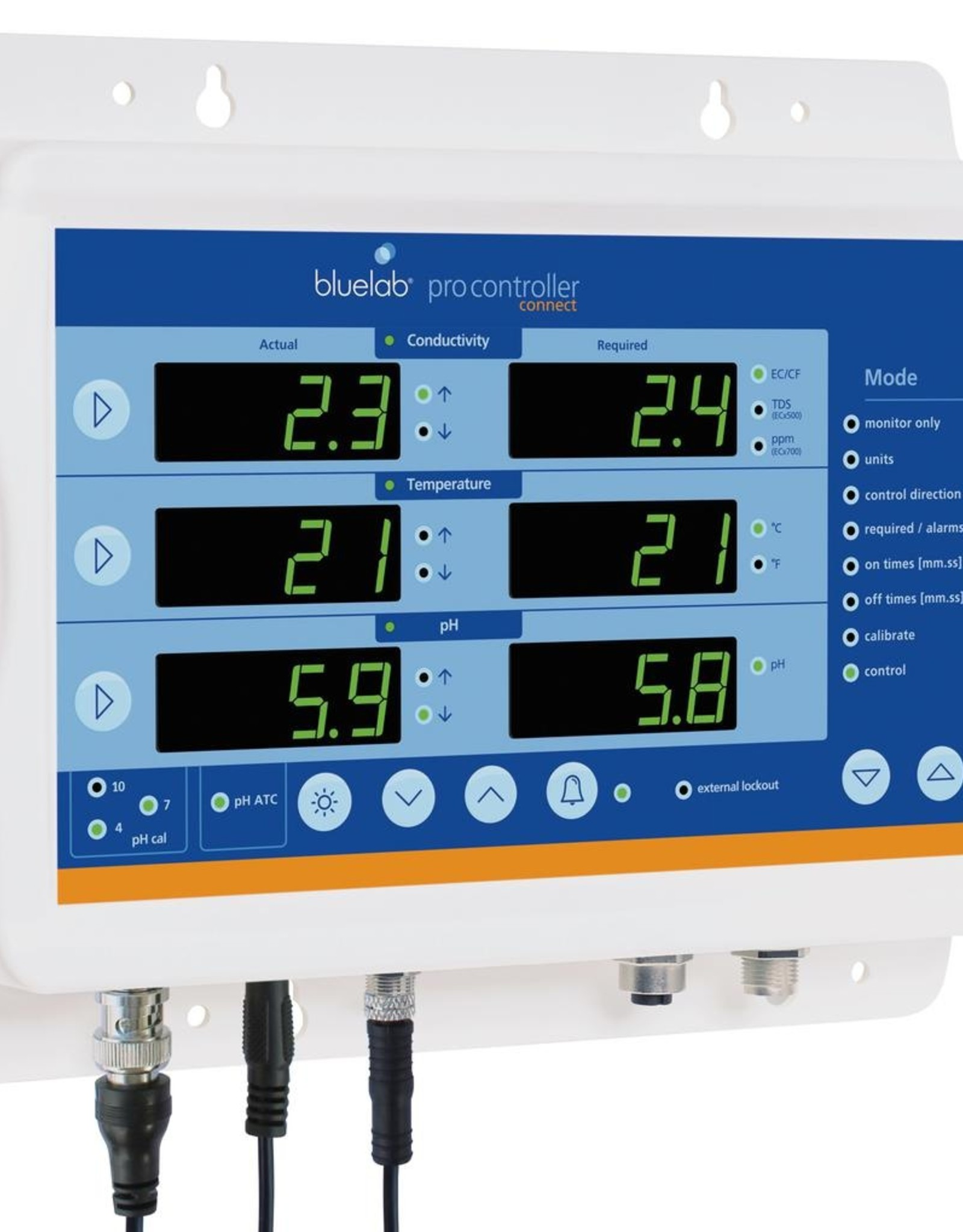 BLUE LAB Bluelab® Pro Controller™ automated pH and nutrient controller gives you full control of reservoir pH, conductivity and temperature in one place. When connected to a dosing system, the Bluelab® Pro Controller™ manages pH, conductivity and temperature level