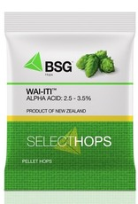 bsg Breeding/Development: Released in 2011 as a new hop variety developed by New Zealand Plant and Food Research, selected for its low alpha acids and high oil content. Wai-iti™ is a granddaughter of Liberty.<br /> <br /> Brewing Application: Aroma. Low in alpha acids an