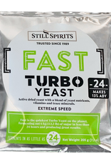 bsg Still Spirits Turbo Yeast 24 uses a mix of yeast nutrients and dry distiller's yeast that are designed for rapid fermentation that create high alcohol content.