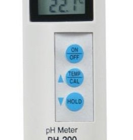 HM DIGITAL Measures pH and temperature. Auto-ranging three point calibration with digital fine tuning. pH buffer 4 solution is in a sponge embedded in a clear cap. Measurement range: 0–14 pH with a waterproof housing. Digital automatic calibration (one point), with