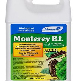MONTEREY Easy-to-mix liquid concentrate. Kills caterpillar-type insects, but has no effect on birds, earthworms or beneficial insects such as honeybees and ladybugs when used as directed. Worm stage and caterpillars eat treated foliage, then immediately stop feedi