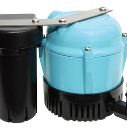"""Shallow-Pan Tank Style<br />Designed for in-pan mounting<br />Aluminum pump housing<br />1/4"""" MNPT discharge<br />Stainless steel shaft<br />Bottom intake<br />Integral float-activated switch<br />6' power cord with 3-prong molded plug<br />Thermal overload protection<br />Manufacturer Item No. 5505"""