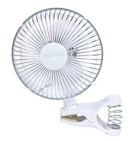 AIR KING The 6 inch clip on fan has impact resistant plastic grills with chemical resistant polypropylene blade, 2-speed and 1/300 HP motor. <br />