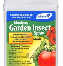 MONTEREY For control of foliage feeding worms (caterpillars), thrips, fire ants and other listed pests in lawns, outdoor ornamentals, vegetables, apples, citrus and stone fruit. Contains spinosad, produced by fermentation. New chemistry for insect control. Can be