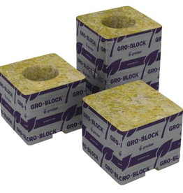 GRODAN Gro-Blocks™ are similar to a plant container. Need a 3 in pot? Then choose a 3 in Gro-Block™. Small plants can be fully grown in our larger Gro-Blocks™. Holes are perfect size for any 1.5 in starter plug. Come in packs labeled with instructions. Big Mama