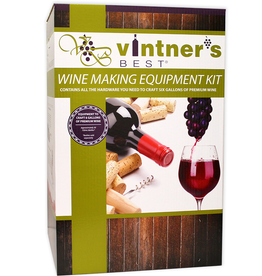 VINTNER'S Contains: 7.9 Gallon Fermenter with Drilled and Grommeted Lid 6 Gallon Glass Carboy Liquid Crystal Thermometer Easy Clean No-Rinse Cleanser Double Lever Corker Premium Corks (30ct.) Mix-Stir Triple Scale Hydrometer Econolock Drilled Universal Carboy Bung