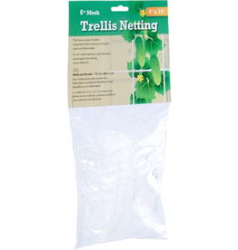 """HYDROFARM Heavy duty, long lasting trellis netting features 6"""" reach-through mesh that allows the trellis to handle more weight, remain taut, and provide strong support for growing crops.<br /> <br /> Features<br /> <br /> 6"""" Mesh<br /> 4' wide x 16' long<br /> Made from high-density polyethylene<br /> Red"""