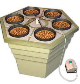 "GENERAL HYDROPONICS The Eco Grower® incorporates an air driven ""spider"" drip system and uses the same revolutionary hexagonal reservoir with removable six inch lid inserts. Each lid insert will accommodate one 6"" net pot that can easily grow very large plants. In keeping wit"