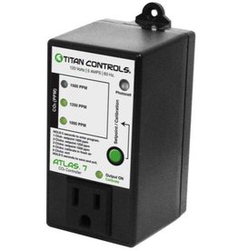 TITAN CONTROLS Select CO2 PPM levels at 1000 PPM, 1250 PPM or 1500 PPM. Integrated photocell. Built-in calibration feature. Single button control. Enclosure resists dust, rust and moisture. 5 Amps maximum/120 Volts/60 Hz.