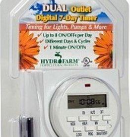HYDROFARM 7 Day Dual Outlet Digital Timer