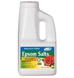 MONTEREY Promotes bloom in roses and other flowering plants. Absorbed through the roots and foliage of plant. Epsom Salts is a source of Magnesium that is essential to plant development. It is required by plants to produce chlorophyll. It also helps plants absorb