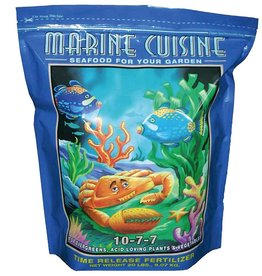 FOX FARM Seafood for your garden? Yes, with FoxFarm's Marine Cuisine dry fertilizer. With this potent time-release fertilizer for outdoor plants, you'll only need to apply just 1-2 times a year! The organic and mineral-based nutrients provide a balanced diet with