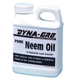 DYNA-GRO Neem oil is pressed from the seed of the neem tree. Neem oil leaves a natural shine on leaves without clogging stomata that leaves need to take in carbon dioxide and release oxygen and water vapor essential to the basic functioning of the photosynthesis p