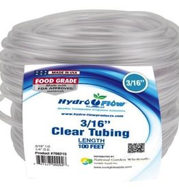 "HYDRO FLOW TUBING GRO PRO CLEAR 3/16""ID-1/4""OD 100'"