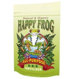 FOX FARM Happy Frog® All-Purpose Fertilizer is a ready-to-use, pH balanced blend of natural fertilizers. Some ingredients allow for instantly available nutrition, while others deliver slow-release nitrogen over time. Highly recommended for vegetable gardens, annua