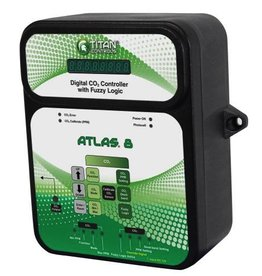 TITAN CONTROLS The Atlas® 8 is a digital CO2 monitor/controller. Once the CO2 level has reached your desired set point it will disable the CO2 device. It features a photocell to ensure daytime only dosing of CO2 via a generator or regulator. This controller comes with a