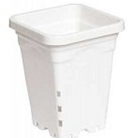 "HYDROFARM 5"" x 5"" Square White Pot, 7"" Tall,"