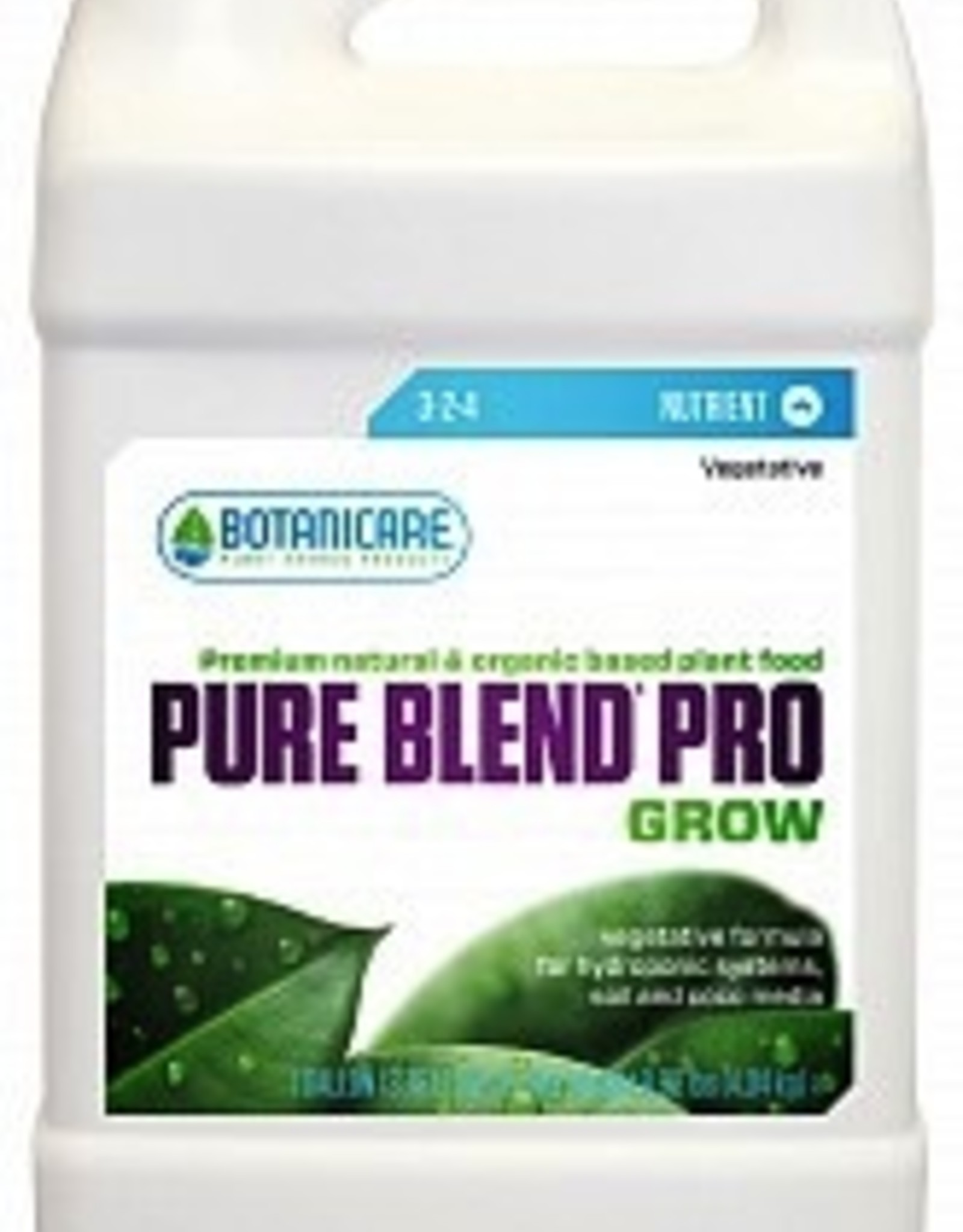 BOTANICARE PURE BLEND Pro is a hydro-organic vegetative and fruit and flower formula which is a specialty custom blend of organic and natural sources of the essential major, secondary, and trace minerals in 100% soluble form from the land and sea. PURE BLEND Pro pro